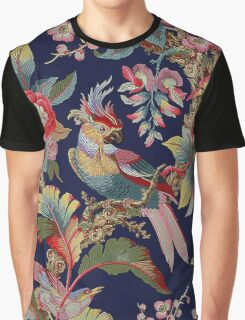 Cockatoo and Flowers on Navy Graphic T-Shirt