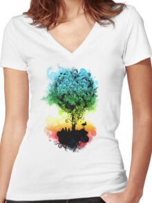 magical tree Women's Fitted V-Neck T-Shirt