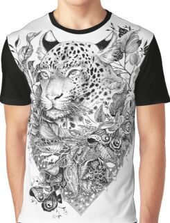 black and white Jungle Leopard Graphic T-Shirt
