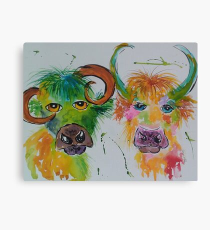 Colourful Quirky Cows Canvas Print