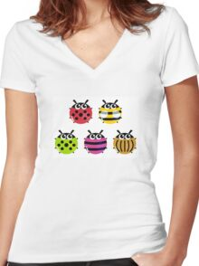 Various bugs collection. Vector cartoon Illustration Women's Fitted V-Neck T-Shirt