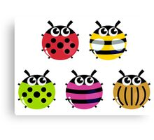 Various bugs collection. Vector cartoon Illustration Canvas Print