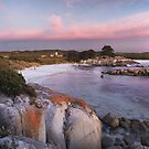 Sunrise and moonfall on the Bay of Fires by Chris Allen
