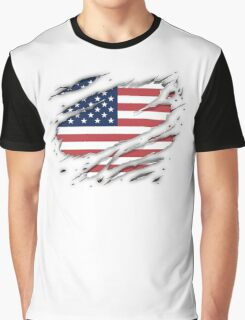 American Flag Ripped Graphic T-Shirt