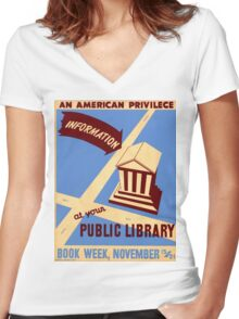 Vintage poster - Book Week Women's Fitted V-Neck T-Shirt