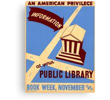 Vintage poster - Book Week Canvas Print