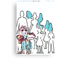 Cut Out Comic Family   Canvas Print