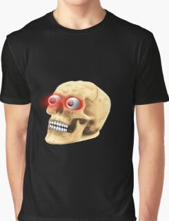 Scary Glowing Eyes Zombie Skull Graphic T-Shirt
