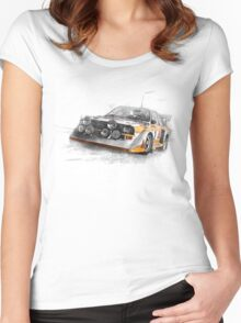 Rally Car Illustration Women's Fitted Scoop T-Shirt