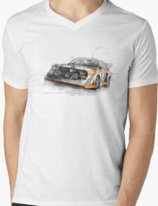 Rally Car Illustration Mens V-Neck T-Shirt