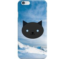 Dragonfly - Kawaii Black Cat Blue Eyes - Mountain Background iPhone Case/Skin