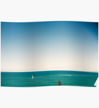 Sunny sky and white sail boat Poster