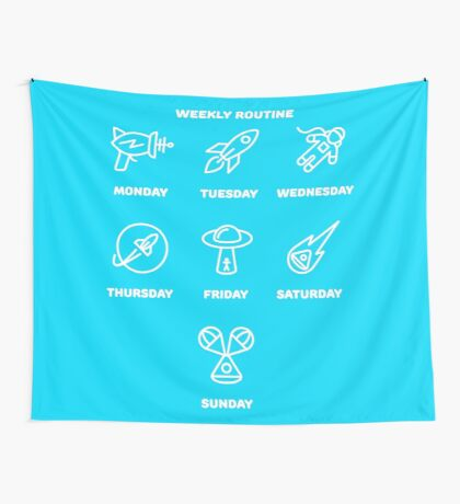 Lost in space, weekly routine Wall Tapestry
