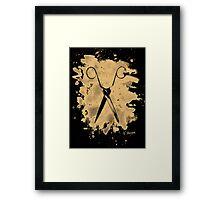 Scissors - bleached natural Framed Print