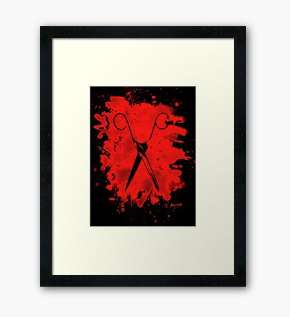Scissors - bleached red Framed Print