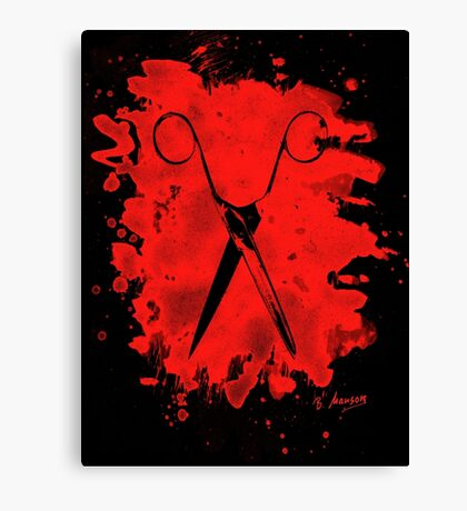 Scissors - bleached red Canvas Print