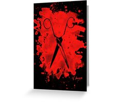 Scissors - bleached red Greeting Card