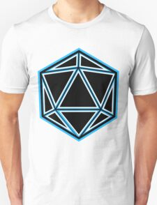 Badass Blue Neon Dice on White Unisex T-Shirt