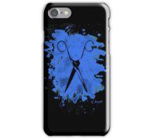 Scissors - bleached blue iPhone Case/Skin
