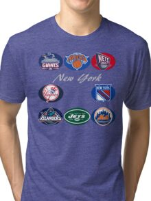 New York Professional Sport Teams Collage  Tri-blend T-Shirt
