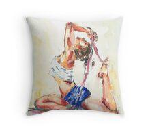 Yoga Watercolor  Throw Pillow