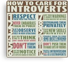 How To Care For Introverts  Canvas Print