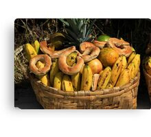 Basket of Bread and Fruit Canvas Print