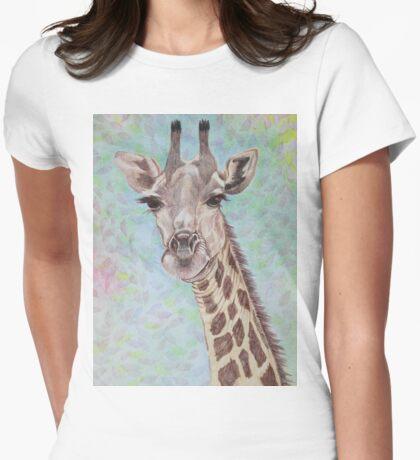 African Giraffe Womens Fitted T-Shirt