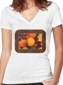 Pumpkins, Gourds and Maple Leaves Women's Fitted V-Neck T-Shirt