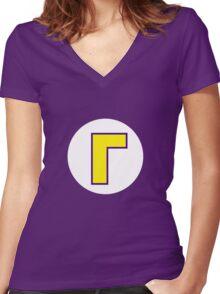 Waluigi Symbol Women's Fitted V-Neck T-Shirt