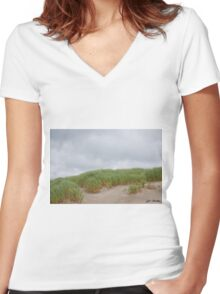Sand Dunes and Grass Women's Fitted V-Neck T-Shirt