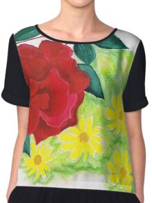 Roses and daisies Chiffon Top