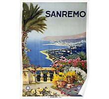 Sanremo Italy Vintage Travel Poster Poster