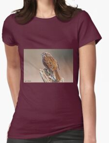 Song Sparrow on a Driftwood Perch Womens Fitted T-Shirt