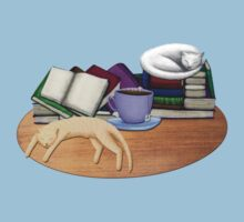 Cat Nap with Books & Tea (White & Ginger) Kids Tee