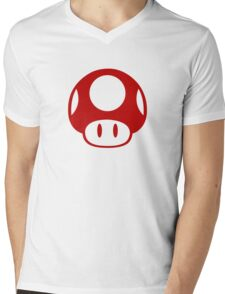Super Mario Bros Mushroom Logo Mens V-Neck T-Shirt