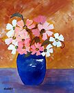 A vase of cosmos flowers  by Elizabeth Kendall