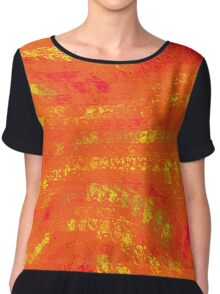 Red & Yellow Abstract Chiffon Top