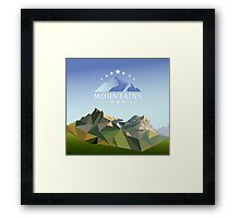 mountain low-poly style illustration Framed Print