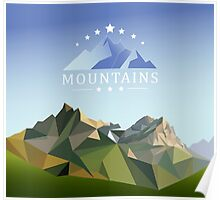 mountain low-poly style illustration Poster