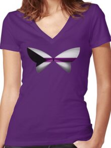 Demisexual Pride Butterfly Women's Fitted V-Neck T-Shirt
