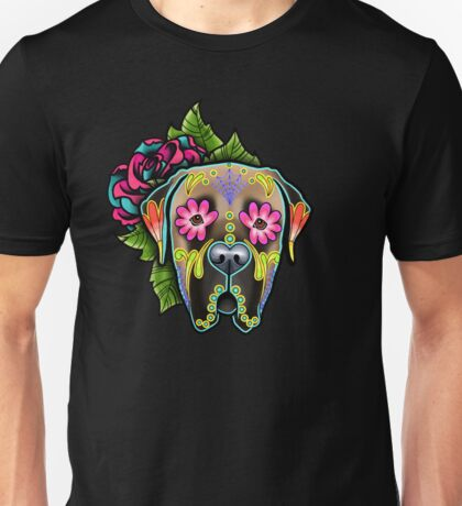 Mastiff in Fawn - Day of the Dead Sugar Skull Dog Unisex T-Shirt
