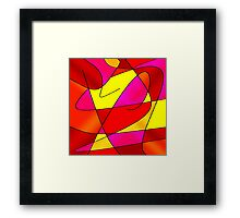 ABSTRACT CURVES-2 (Reds, Oranges, Yellow & Fuchsias)-(9000 x 9000 px) Framed Print