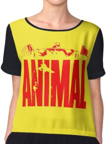 animal, fitness, muscle, strong, bodybuilding, logo, symbol, nutrition, vitamin, booster, barbell, club. Chiffon Top