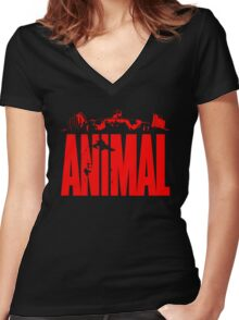 animal, fitness, muscle, strong, bodybuilding, logo, symbol, nutrition, vitamin, booster, barbell, club. Women's Fitted V-Neck T-Shirt