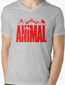 animal, fitness, muscle, strong, bodybuilding, logo, symbol, nutrition, vitamin, booster, barbell, club. Mens V-Neck T-Shirt
