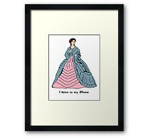 Victorian Lady With iPhone Framed Print