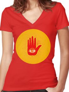 Hand and eye Women's Fitted V-Neck T-Shirt
