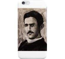 Nikola Tesla charcoal drawing iPhone Case/Skin