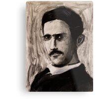 Nikola Tesla charcoal drawing Metal Print